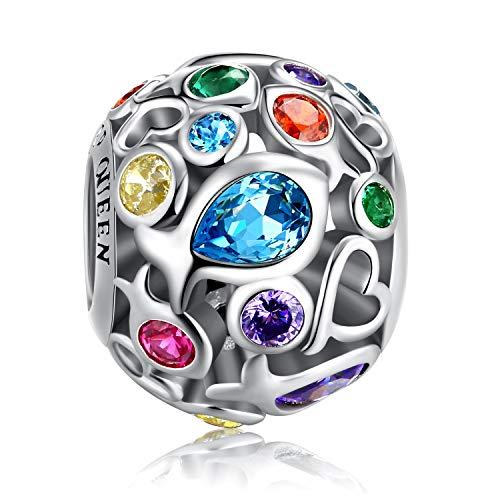 FOREVER QUEEN Damen Regenbogenfarben Charm Anhänger für Armband 925 Sterling Silber Beads Bunt Charm Bead Perfektes Muttertagsgeschenk Mit Geschenkbox