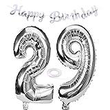 SNOWZAN Ballon d'anniversaire 29 ans en forme de chiffre 29 - Argenté - Pour fille - Avec inscription « Happy Birthday » - En forme d'hélium - 29 ans