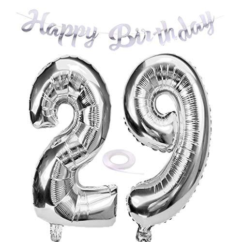 SNOWZAN Luftballon 29. Geburtstag Silber Mädchen Zahl 29 Riesen Folienballon Helium Nummer 29 Luftballon Große Zahlen 29 Jahre XXL 29. Happy Birthday Banner Girlande 32 Zoll Riese Zahl 29 für Party