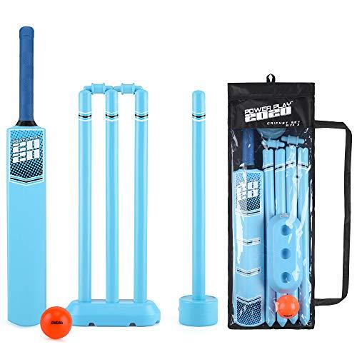 PowerPlay Cricket-Set aus Kunststoff mit Cricketschläger, Kwik Cricketball, 4 Stäben, Bügel und Tasche, Unisex, Kwik Cricketball, 4 Stäbchen und Tasche, BGG1676, Size 3 Bat