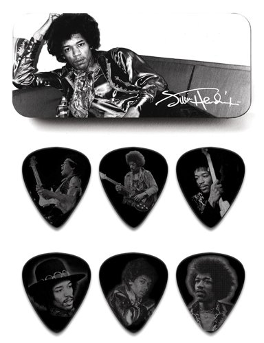 Dunlop JHPT05H Jimi Hendrix Silver Portrait Series Pick Tin, Assorted, Heavy, 6 Picks/Tin