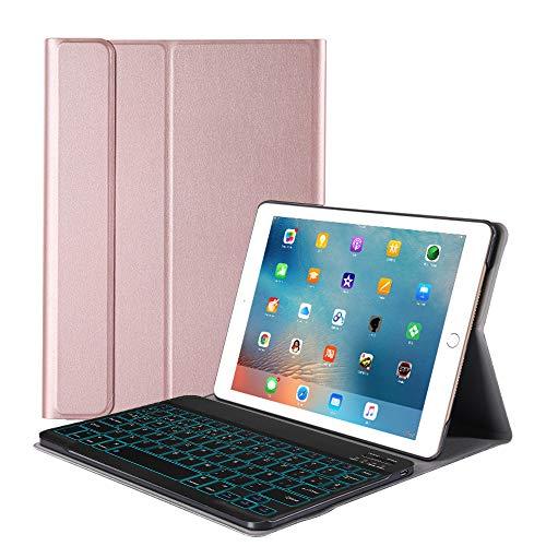 FRACASE Funda Teclado para iPad 10.2(2019),Español ,Retroiluminación de 7 colores,Teclado Bluetooth Inalámbrico Removible PU Estuche de Piel para iPad 10.2 Teclado Español -Rose Gold
