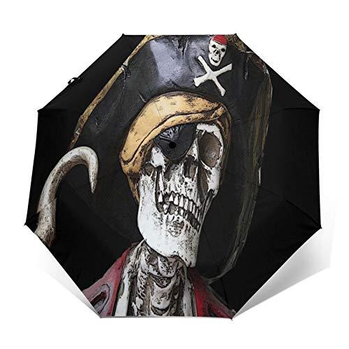 TISAGUER Paraguas automático de Apertura/Cierre,Pirata Esqueleto con un Sombrero de Pirata Negro,Paraguas pequeño Plegable a Prueba de Viento