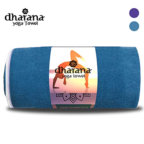 Dharana Yoga Handtuch für Yogamatte Mikrofaser rutschfest & Schnelltrocknend - 183 cm x 61 cm - Bikram Hot Yoga Ashtanga -