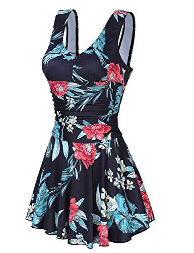 Clearlove Badeanzug Schwimmanzug Damen Einteiler Schlankheits Raffung High Neck Bademode Strandmode,Schwarz und Rot,L