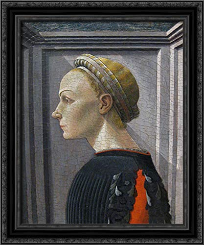 Portrait of A Lady 20x24 Black Ornate Wood Framed Canvas Art by Paolo Uccello