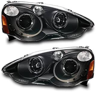 SPPC Projector Headlights Black Assembly Set with LED Halo For Acura RSX - (Pair) Includes Driver Left and Passenger Right Side Replacement Headlamp