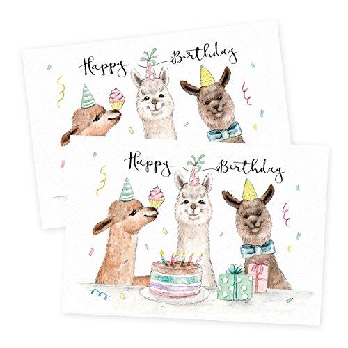 2er Set Glückwunschkarten zum Geburtstag, Alpaka, neutral, Junge, Mädchen, blanko, Karte zur Geburtstag, DIN A6
