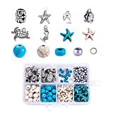 Beadthoven 160/Box Ocean Theme DIY Jewelry Sets with Synthetic Turquoise Beads Alloy Starfish Turtle Dolphin Mermaid Pendants Charms Glass Seed Beads for Jewelry Making