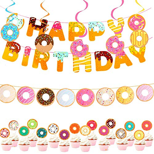 Donut Theme Ornament Party Supplies Donut Happy Birthday Ribbon Banner Danglers Party Doughnut Dizzy Danglers Cake topper Donut Birthday Decorations