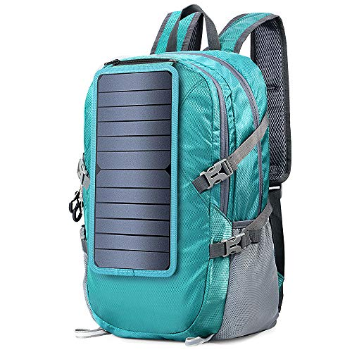 ECEEN Solar Backpack Foldable Hiking Daypack With 5V Power Supply (Blue)