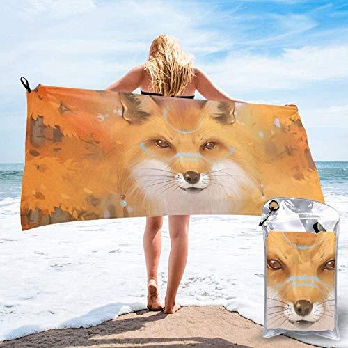 Toalla de Playa 27.5 'X 55',Puppy Ultra Soft Sand Microfibra Portátil Absorbente de Agua Microfibra múltiple Sin Arena Toalla de Playa Manta-Cool Fox Painting