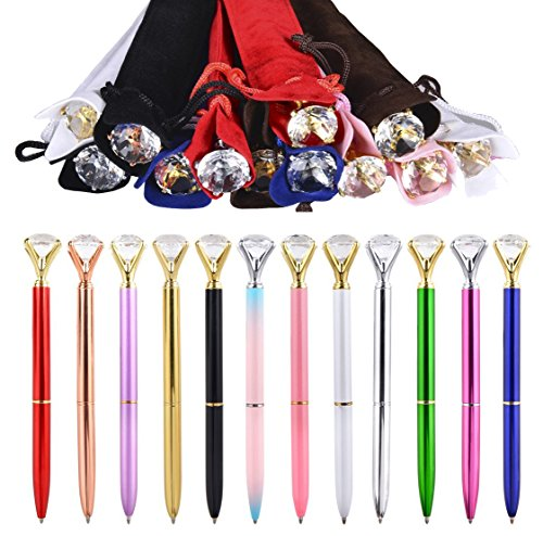 12-pack diamond pens kawaii gifts for coworkers bridesmaid women journal planner cute fancy fun cool nice pretty writing novelty pen office supplies desk accessories