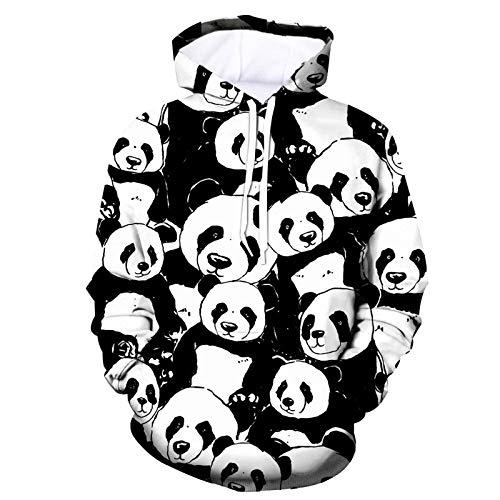 Mr.BaoLong&Miss.GO Otoño E Invierno Suéter con Capucha Suéter De Pareja De Navidad Estampado De Panda con Capucha Chaqueta De Suéter Suelta para Hombres