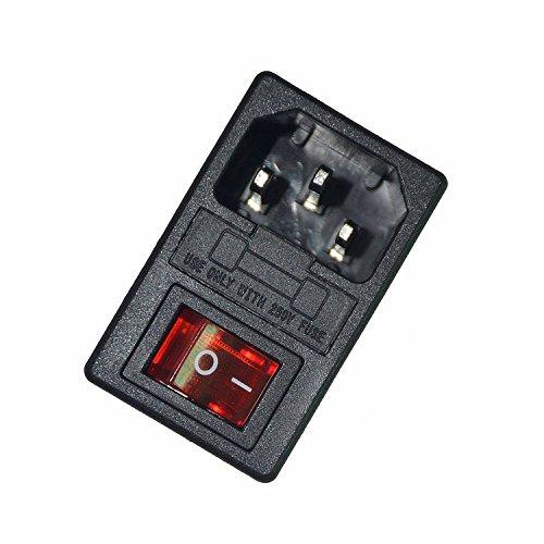 JOYNANO Módulo de entrada 3 en 1 Módulo 5A Fusible de vidrio Interruptor basculante Luz roja 3-Pin IEC320 C14 encajar 1.5mm Espesor del panel Snap-in Paquete de 2