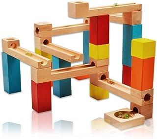 玉転がし ロープセット ビー玉積み木転がし ビーズコースター - Happytime W170015 木製の玩具 カラフルな積み木 33点セット 知育玩具シリーズ