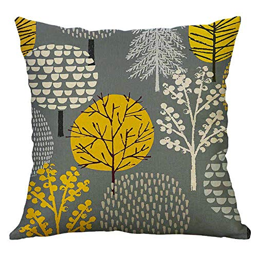 Hangood Tree Cushion Covers 18x18 Cotton Linen Throw Pillow Covers 45cm x 45cm