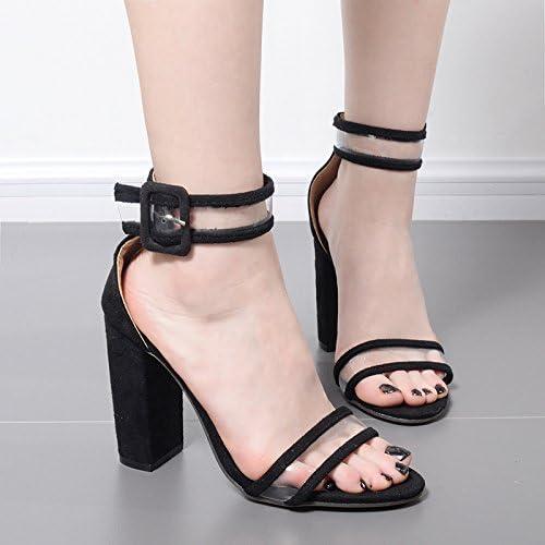 ZHUDJ Rome Sandales Préférées avec des Chaussures à Talons Hauts Noir Serpent Brut Rome