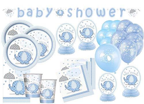 Kids Party World XXL 65 Teile Baby Elefant in Blau Babyshower Set für 16 Personen