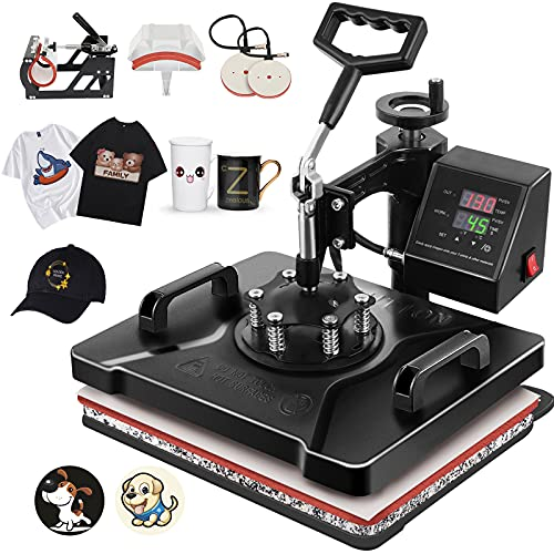 Tolsous 12 X15 5 in 1 Heat Press Machine 360 Degree Swivel Multifunction T-Shirt Press Machine Presser Digital Transfer Sublimation for Mug Hat/Cap Plate (1250W)