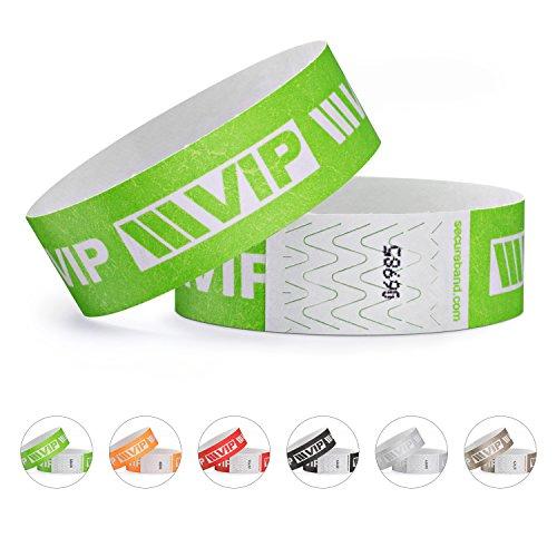 linie zwo®, Pack de 100 pulseras de seguridad Tyvek® 19 mm - VIP New Design, Verde neón