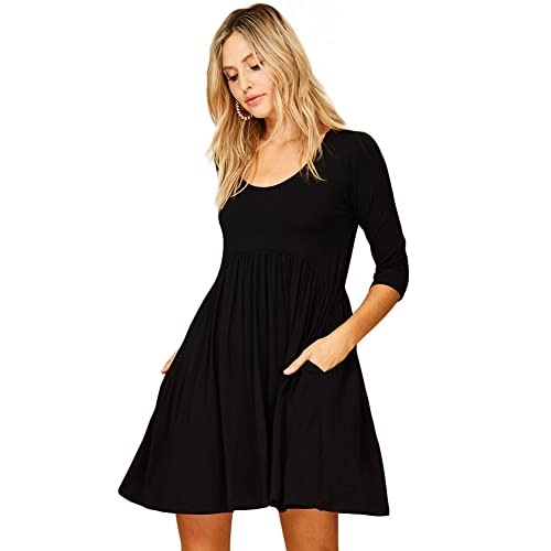 18a5aedcf4b5 Annabelle Women's 3/4 Sleeve Empire Waist A Line Babydoll Pocket Swing Dress