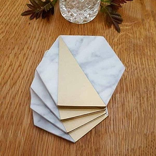 六边形白色大理石饮料杯垫金色家居厨房装饰生日乔迁礼物 4 件套