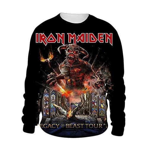 Iron Maiden Pullover Diseño simples sudaderas con capucha abrigos cómodos Bastante suave Outwear Hermoso Pullover historieta de la impresión con capucha unisex Unisex ( Color : A03 , Size : L )