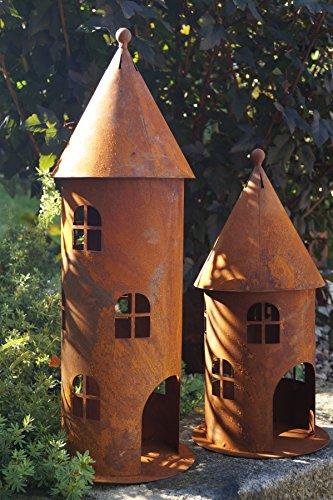 Rostalgie Edelrost Turm klein Höhe 42 cm Gartendekoration Leuchtturm Fenster Beleuchten - 1 Stück Turm klein