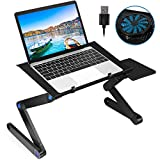 2021 New Laptop Desk for Bed, Foldable Aluminum Adjustable Laptop Stand with Large Cooling Fan & Mouse Pad for Bed, Sofa & Couch Lap Tray