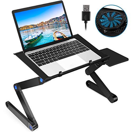 2021 Nuevo escritorio para portátil para cama, soporte plegable de aluminio ajustable para portátil con ventilador de refrigeración grande y alfombrilla de ratón para cama, sofá y bandeja de regazo