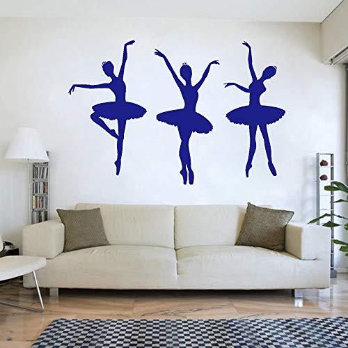 Ballerina Ballett Tänzerinnen Mädchen Silhouette Vinyl Wandtattoo Dance Room Decor Aufkleber für Mädchen Zimmer Schlafzimmer Dekoration color-3 120X80 CM