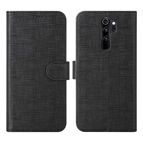 CRESEE für Xiaomi Redmi Note 8 Pro Hülle Hülle, PU Leder Tasche mit 3 Kartenfächer, Magnetverschluss Schutzhülle Flip Cover Standfunktion Stoßfest Brieftasche Handyhülle für Redmi Note 8 Pro (Schwarz)