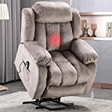 ANJ Power Massage Lift Recliner Chair with Heat & Vibration for Elderly, Heavy Duty and Safety Motion Reclining Mechanism - Antiskid Fabric Sofa Contempoary Overstuffed Design (Camel)