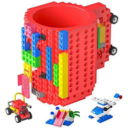 DAYMOO Build-On Brick Mug,Funny Coffee Mug Compatible with Lego,with 3 Packs of Blocks at Random,Building Blocks Cup for Kids,Unique Gifts Idea for Christmas(Red)