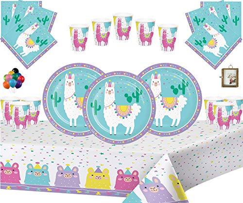 Llama Fiesta Niños Cumpleaños Juego de decoración Platos Tazas Servilletas Mantel Paquete de Globos Gratis y Marco de Fotos Colgante para 16 Invitados