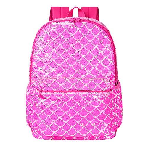 Mermaid Backpack for Girls Sequin Kindergarten Elementary Middle School Bookbag Back Pack Bookbags(Pink)