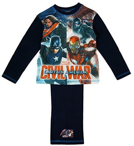 Niños Marvel Capitán América de Los Vengadores máquina de Guerra Civil War pijama tamaños desde 4a 10años azul azul 7-8 Años