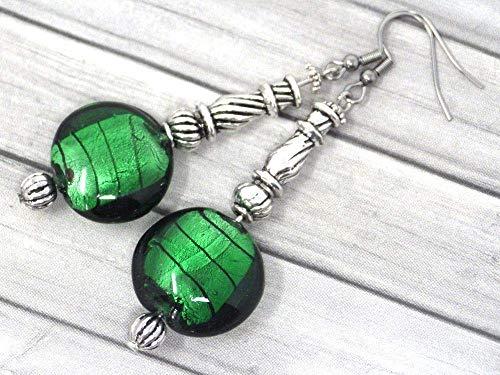 Pendientes de acero inoxidable Venezia y cuentas de cristal de Murano verde oscuro