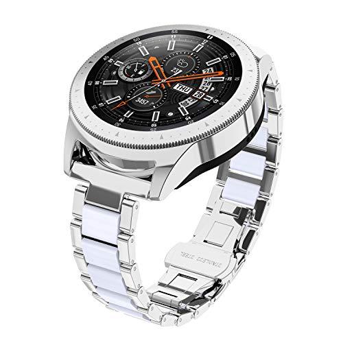 Glebo Armband Kompatibel für Samsung Galaxy Watch 42mm / Active 40mm/ Active 2 40mm 44m, 20mm Metall & Harz Uhrenarmband Ersatzarmband für Samsung Gear S2 Classic/Gear Sport, Silber+Weiß