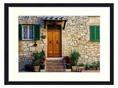 OiArt Wall Art Print Wood Framed Home Decor Picture Artwork(24x16 inch) - Casa Antica Middle Ages San Gemini Umbria Italy