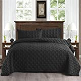 Exclusivo Mezcla 3-Piece Queen Size Quilt Set with Pillow Shams, as Bedspread/Coverlet/Bed Cover(Ellipse Black) - Soft, Lightweight, Reversible& Hypoallergenic