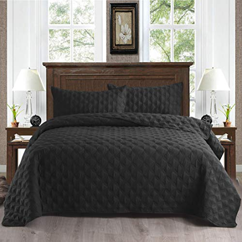 Exclusivo Mezcla 2-Piece Twin Size Quilt Set with Pillow Shams, as Bedspread/Coverlet/Bed Cover(Ellipse Black) - Soft, Lightweight, Reversible& Hypoallergenic