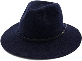 Fascinator Hat Winter Trilby Hat Wool Women Fedora Hat Wide Brim Hat (Color : Drak Blue, Size : 56-58)
