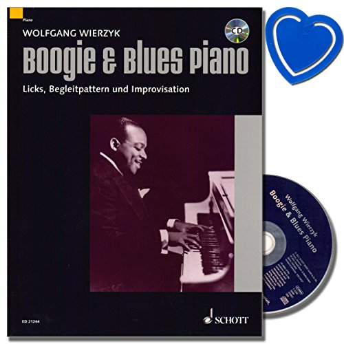 Boogie and Blues Piano mit CD - komplett überarbeitete und erweiterte Neuauflage ( mittelschwer Schwierigkeitsgrad ) von Wolfgang Wierzyk - mit bunter herzförmiger Notenklammer