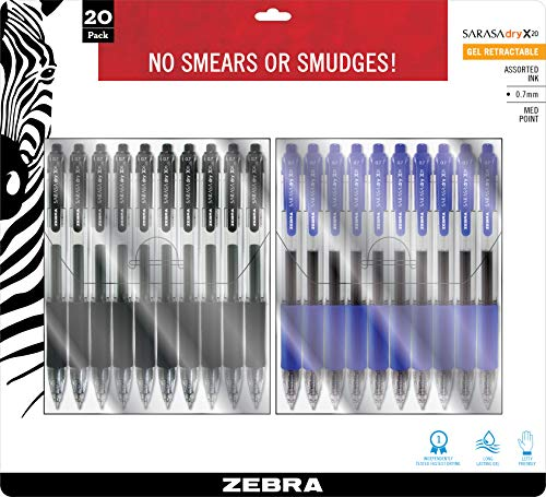 Zebra Pen Sarasa Dry X20 Bolígrafo de gel retráctil, punta media, 0,7 mm, tinta negro/azul, paquete de 20, negro y azul (14781)