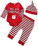 Bebé recién Nacido niño niña Trajes de Navidad de Manga Larga a Rayas Mono Mono Pantalones Sombrero 3 Piezas Conjunto de Ropa de otoño Invierno (My 1st Christmas,9-12 Meses)