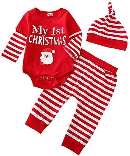 Neugeborene Baby Boy Girl Weihnachtsoutfits Langarm gestreifte Strampler Bodysuit Hosen Hut 3Pcs Herbst Winter Kleidung Set (My 1st Christmas,0-3 Monate)