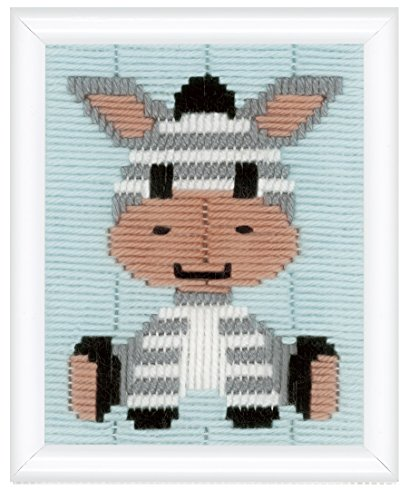 Vervaco beginners borduurpakket Longstitch Zebra borduurverpakking, stram, wit, 12,5 x 16 x 0,3 cm