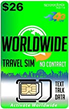 Worldwide Travel SIM Card - International Talk Text Data on Over 200 Countries - Compatible with All Unlocked GSM Phones